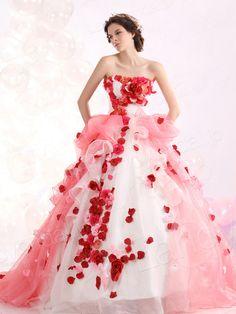 カラードレス プリンセス ビスチェ オーガンジー コートトレーン サイズオーダードレス ブライダル 結婚式 lbprjp0096
