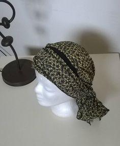 Turban à nouer préformé - Foulard - Bonnet - chapeau - bandeau chimio gris  jaune noir 339100a08b5