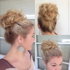 To die for: Big Bouffant Hair Bun --  This is an altered version of the famous sock bun. Instead of the neatness and clean lines of your typical sock bun, this is a messy volumeized style that is absolutely adorable! I curled my ends with a 1in curling iron