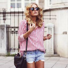 stripes shirt + denim shorts