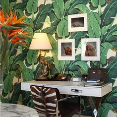 A sumptuous Palm Beach apartment designed by William T. Georgis Architect...It features so many of my favourite things... The Original Martinique Beverly Hills banana leaf wallpaper, Zebrine wallpaper by Rose Cumming, faux bamboo, shell encrusted mirrors, whimsical monkeys, chintz, and Chinoiserie. What more could you ask for? #kairosinspiration #thekairoscollective