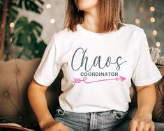 Chaos coordinator T-shirt | Mother's Day gift idea | Modern mom top | mama life shirt | Unisex Bella Canvas Soft jersey I Cute pink tee Dog Mom Shirt, Mom Shirts, T Shirts For Women, Special Gifts For Her, Presents For Her, Dog Mom Gifts, Gifts For Mom, Pug, Corgi