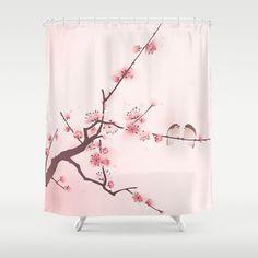 Pretty Cherry Blossom Shower Curtain  #cherrybshowercurtainscglam