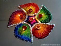 Very easy and bright flower rangoli for diwali Easy Rangoli Designs Videos, Rangoli Designs Simple Diwali, Happy Diwali Rangoli, Rangoli Simple, Indian Rangoli Designs, Rangoli Designs Latest, Rangoli Designs Flower, Free Hand Rangoli Design, Small Rangoli Design
