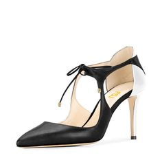 Women's Style Pumps Black and White Lace-up Sandals Formal Shoes Stiletto Heels Women's Heels back To School Outfits Women Fall Fashion Outfits Fall Fashion Wedding Dress Shoes for Formal event, Date   FSJ