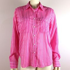 """30% OFF BUNDLESPink Cotton Striped Button Down Super soft & lightweight cotton shirt in pink & white stripes. Features breast pockets & sleeve tabs. Great condition, no defects. Shoulders:17"""". Pit to pit:23"""". Sleeve:24.5"""". Length:26"""". #spring 30% OFF ALL BUNDLES Ralph Lauren Tops Button Down Shirts"""