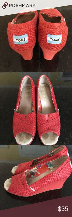 Tom's Wedges Toms, Red, basketweave fabric, peep toe wedge sandal, Comfortable, worn handful of times TOMS Shoes Sandals