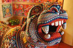 Jaguar, Mexican People, Yarn Painting, Mexico Art, Mexican Designs, Indigenous Art, Puerto Vallarta, Mexican Folk Art, Aboriginal Art
