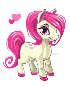 84c2762f2eea2 Cute cartoon little white baby horse with pink hair