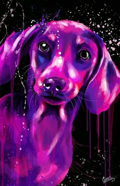 Dachshund Art by Vân Dương (?) seems to be the same signature as the previous blue dog art - hope I'm right, if not please let me know artist, thx Arte Dachshund, Dachshund Puppies, Weenie Dogs, Dachshund Love, Chihuahua, Daschund, Doggies, Animal Paintings, Animal Drawings