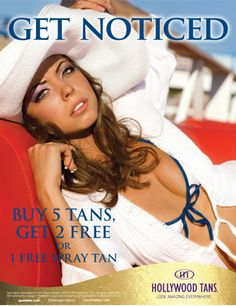 Get Noticed with Hollywood Tans' May 2013 Promotion.  Buy 5 tans, get 2 FREE or 1 FREE Spray Tan.  Ask your Hollywood Tans' Sales Associate for more details.