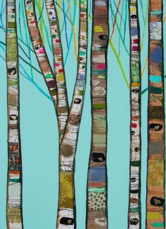 Mixed media oil painting: Tall Birch Trees in Gloss Aqua with Bright Branches 2013 (Scrappy quilt inspiration!)