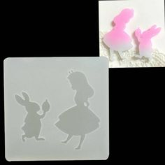 Rabbit Shaped ALICE  Mold DIY Silicone Mould Decorating Craft Tools Accessories Wonderland sugar craft  Soap Gumpaste Fondant Caketopper by ToonTopper on Etsy