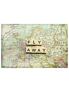 Fly Away by Marmont Hill at Gilt www.marmonthill.com. World map on canvas with letter tiles.