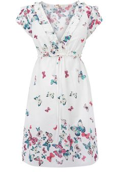 This v neck sundress has an all over butterfly print and a drawstring waistband. Perfect for throwing over a bikini on holiday.