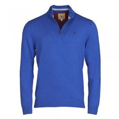 This cobalt blue 1/4 zip cotton jumper looks great over t-shirts and long sleeved tops. Adjust the zip collar for added insulation. We use melange yarns which give colour and textural interest. Features include - contrasting inside neck panel and our wolfhound logo.