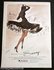 Vintage 1956 Illustrated Lady Skirt Blowing in Wind Saucy Stockings 50s Print Ad