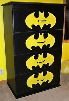 Batman dresser, so doing this for boys superhero room Tudor Rose, Geeks, Batman Bedroom, Batman Nursery, Nananana Batman, Superhero Room, Superhero Ideas, I Am Batman, Superman