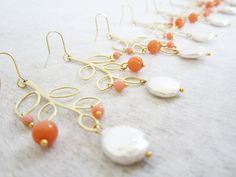 Bridesmaids/wedding earrings 4 sets coin pearl and by Muse411, $132.00