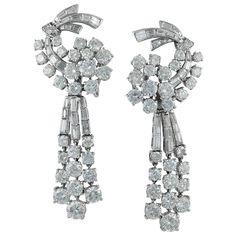 1950s Van Cleef & Arpels Diamond Cascade Earrings | See more rare vintage Dangle Earrings at https://www.1stdibs.com/jewelry/earrings/dangle-earrings