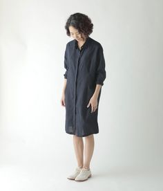 Jess Long Shirt: Nuit. Fog Linen