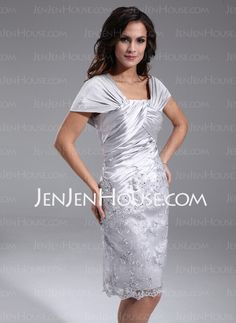 Mother of the Bride Dresses - $166.39 - Sheath Off-the-Shoulder Knee-Length Charmeuse Mother of the Bride Dresses With Ruffle Lace (008006389) http://jenjenhouse.com/Sheath-Off-the-shoulder-Knee-length-Charmeuse-Mother-Of-The-Bride-Dresses-With-Ruffle-Lace-008006389-g6389