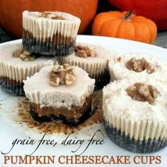 "Grain Free, Dairy Free Pumpkin ""Cheesecake"" Cups - these are so good! #paleo #vegan #thanksgiving"