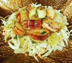 Brown Butter, Lemon and Pepper Lobster over Coleslaw. (Sherri Logan Williams)