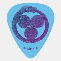 Customizable Guitar Pick OUROBOROS w/SPIRALS blue Moon Under Water, Irish Celtic, Dragon Slayer, Greek Art, Guitar Picks, Spirals, Blue Moon, Initials, Symbols