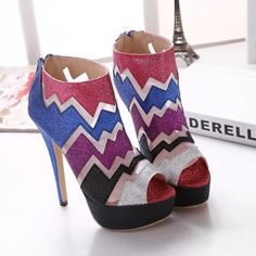 2015 New Women Fashion Shoes Woman Multicolor Rainbow Colorfur Open Toe Platform Pumps Thin Heels Sequined Wedding Party Shoes