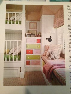 Such a cute little girls room. Love the drawers and window seat. (From Coastal Living Magazine)