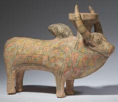Polychrome Terracotta Bull Cult Figure, Indus Valley Civilization, c. 3rd Millennium BC