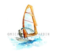 Surf art windsurf watercolor painting Giclee print by Zendrawing