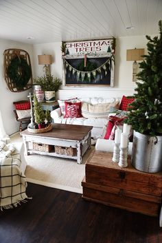 Cozy Rustic Christmas Cottage Living Room -