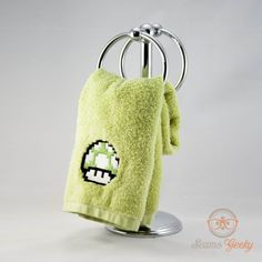 Super Mario Bros. Green Mushroom Inspired - Embroidered Hand Towel. $10.00, via Etsy.