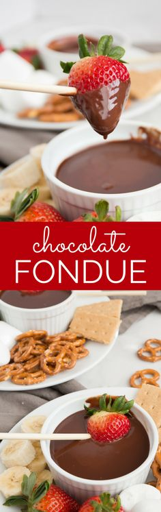 Chocolate Fondue is a fun and easy dessert experience! This no-fuss recipe is silky smooth and decadent, perfect for a variety of dipping options.This dessert is sure to be at hit at an party. | wanderzestblog.com #fondue #chocolate #party #dessert #holiday