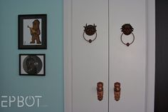 Labyrinth door knockers!  Owned by the writer of http://www.cakewrecks.com.