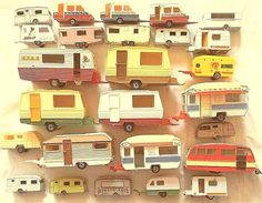 Great collection of toy caravans.