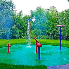 This residential backyard splash pad was a copy of daycare splash pad that we installed.  The customer saw the daycare water park that we had installed and wanted it for his children.