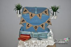 Flip Flops Black Hessian Bunting Wedding Burlap Banner Bride Rustic Vintage Chic