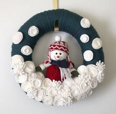 Blue Snowman Wreath Felt and Yarn Wreath by TheBakersDaughter