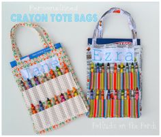 Potlucks on the Porch: Personalized Crayon Tote Bag Tutorial