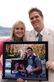 each anniversary take a picture holding the picture from the year before. great idea for kids birthday photos too!