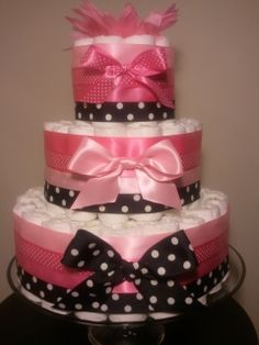 diper cakes | Pink and white polka dot black and white polka dot diaper cake