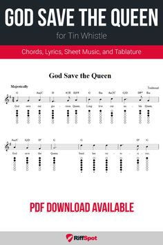 Free tin whistle sheet music for God Save the Queen with chord symbols, lyrics, and tablature. Guitar Sheet Music, Free Sheet Music, Bagpipe Music, Keyboard Lessons, Tin Whistle, Native American Flute, Save The Queen, Play To Learn, Kids Songs