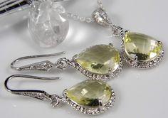 Yellow Lemon Teardrop Czech Glass Crystal Necklace by LaBelleGem, $50.00