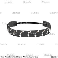 Slam Dunk Basketball Player - White Silhouette Athletic Headband  #Sports4you #Gravityx9 #Zazzle - When your hair is going wild and you want to rein it in grab one of our elastic headbands! Not only will it help hold your hair in place, but you can style them with your favorite text, designs, and images. Express yourself with a custom elastic headband!  Available in 2 fabric finishes: Grosgrain and Satin