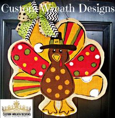 Burlap Turkey Door Hanging by lilmaddydesigns on Etsy, $25.00