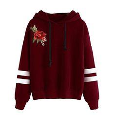 ff8dd2e92 LoveSky Womens Floral Pullover Drawstring Hooded Embroidery Sweatshirts AS5  2XL Camisolas Bordadas