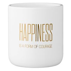 """Ceramic Flower Pot with Happiness Is A Form Of Courage"""" - White/Gold (4"""") - 3R Studios"""